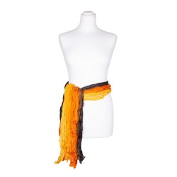 Knitterschal XXL Farbverlauf gelb orange braun schwarz 100% reine Seide 180x90cm Seidengürtel