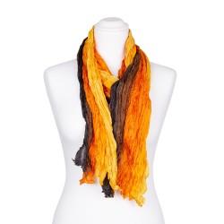 Knitterschal XXL Farbverlauf gelb orange braun schwarz 100% reine Seide 180x90cm Crash-Schal