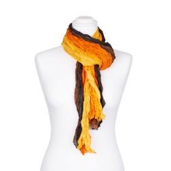 Knitterschal XXL Farbverlauf gelb orange braun schwarz 100% reine Seide 180x90cm