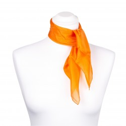 Nickituch Seidentuch orange 100% reine Seide 55x55cm Damen einfarbig
