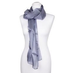 Seidenschal grau silber 100% reine Seide 180x45cm uni einfarbig