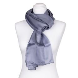 Seidenschal grau silber 100% reine Seide 180x45cm einfarbig