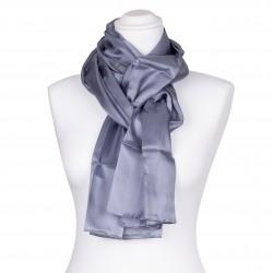 Seidenschal grau silber 100% reine Seide 180x45cm unifarben