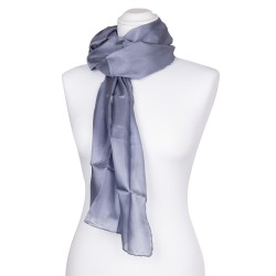 Seidenschal grau silber 100% reine Seide 180x45cm Damen