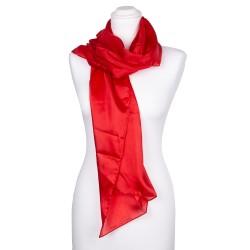 roter Seidenschal tiefrot 100% reine Seide 180x45cm uni einfarbig