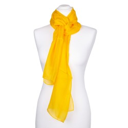indisch gelber Seidenschal 100% reine Seide 180x45cm einfarbig