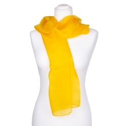 indisch gelber Seidenschal 100% reine Seide 180x45cm einfarbig unifarben Damen