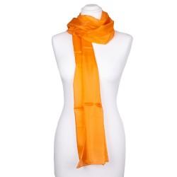 Seiden-Schal orange 100% Seide 180x45cm Damen einfarbig uni