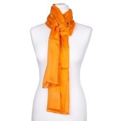 Seidenschal orange 100% reine Seide 180x45cm uni einfarbig Damen