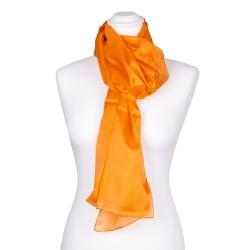 Seidenschal orange 100% reine Seide 180x45cm uni einfarbig