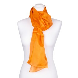 Seidenschal orange 100% reine Seide 150x35cm uni einfarbig