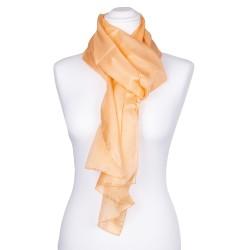 Seidenschal orange apricot Aprikose 100% reine Seide 180x45cm einfabrig Damen