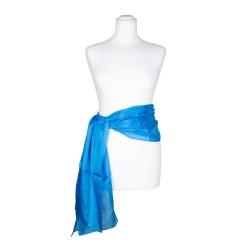 Seidenschal blau brillantblau 100% reine Seide 180x45cm Seidengürtel