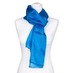 brillantblauer Seidenschal 100% reine Seide 180x45cm Damen