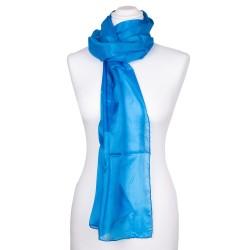 Seidenschal blau brillantblau 100% reine Seide 180x45cm uni einfarbig