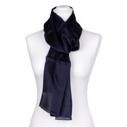 Seidenschal blau marineblau navyblau 100% reine Seide 180x45cm Damen