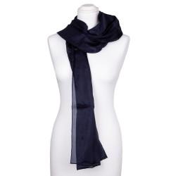 blau marineblauer Schal aus 100% Seide 180x45cm einfarbig