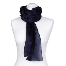 Seidenschal blau marineblau 100% reine Seide 180x45cm einfarbig Damen