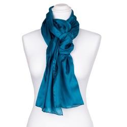 Seidenschal blau grün Petrol 100% reine Seide 180x45cm einfarbig