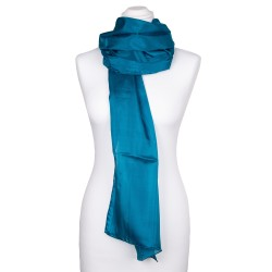 Seidenschal blau grün Petrol 100% reine Seide 180x45cm einfarbig Damen