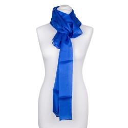 Seidenschal blau royalblau dunkelblau 100% reine Seide 180x45cm Damen