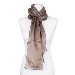 Seidenschal khaki braun 100% reine Seide 180x45cm uni einfarbig Damen