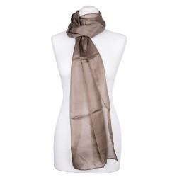 Seidenschal khaki braun 100% reine Seide 180x45cm einfarbig