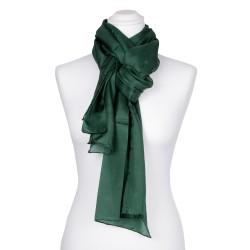 Seidenschal Waldgrün Dunkelgrün 100% reine Seide 180x45cm Damen einfarbig