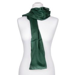 waldgrüner dunkelgrüner Seidenschal 100% reine Seide 180x45cm Damen