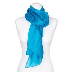 Seidenschal blau blautürkis 100% reine Seide 180x45cm Damen einfarbig