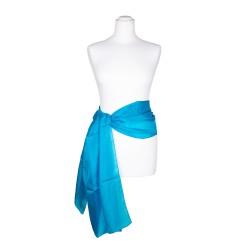 Seidenschal blau blautürkis 100% reine Seide 180x45cm Seidengürtel