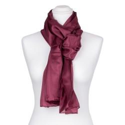 Seidenschal Aubergine Lila 100% reine Seide 180x45cm violett einfarbig
