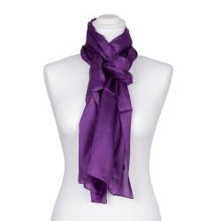 Seidenschal violett lila 100% reine Seide 180x45cm Damen einfarbig