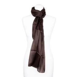 mokka dunkelbrauner Seidenschal Damen 100% reine Seide 180x45cm einfarbig