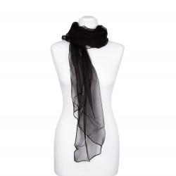 Seidenstola Chiffon schwarz 100% reine Seide 230x55cm einfarbig