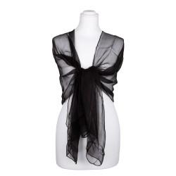 Seidenstola Chiffon schwarz 100% reine Seide 230x55cm uni
