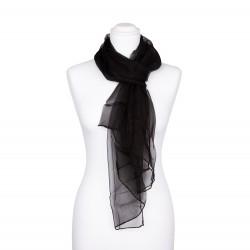 Seidenschal Chiffon schwarz 100% reine Seide 180x55cm uni einfarbig