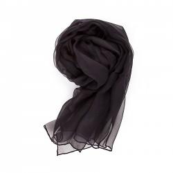 Seidenschal Chiffon schwarz einfarbig uni 100% reine Seide 180x55cm