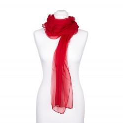 Festliche Stola Rot 100% reine Chiffon-Seide 230x55cm Damen