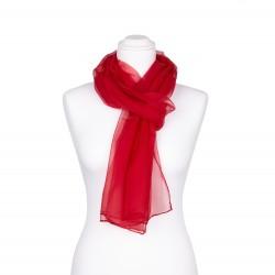 Seidenschal Chiffon rot rubinrot 100% reine Seide 180x55cm einfarbig
