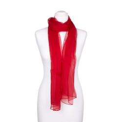 Seidenschal Chiffon rot rubinrot 100% reine Seide 180x55cm Damen