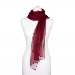 Seidenschal Chiffon Bordeaux Weinrot 100% reine Seide 180x55cm