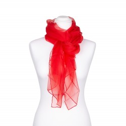 Seidenschal Chiffon Paprika-Rot 100% reine Seide 180x55cm uni einfarbig