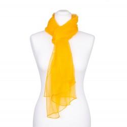 Seidenschal Chiffon gelb indischgelb 100% reine Seide 180x55cm