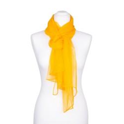 Seidenschal Chiffon gelb indisch-gelb 100% reine Seide 180x55cm einfarbig