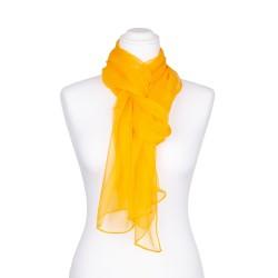 Seidenschal Chiffon gelb 100% reine Seide 180x55cm unifarben