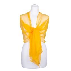 Seidenschal Chiffon gelb indischgelb 100% reine Seide 180x55cm Seidenstola