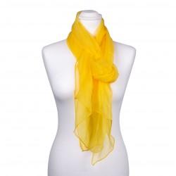 Seidenschal Chiffon gelb sonnenblumen 100% reine Seide 180x55cm uni einfarbig