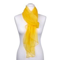 Seidenschal Chiffon gelb sonnenblumen 100% reine Seide 180x55cm Damen