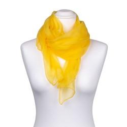 Seidenschal Chiffon gelb sonnenblumen 100% reine Seide 180x55cm einfarbig